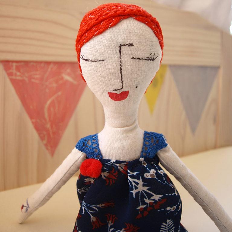 abracadabra-rag-doll-ginger-hair-red-lips-elegant-blue-dress
