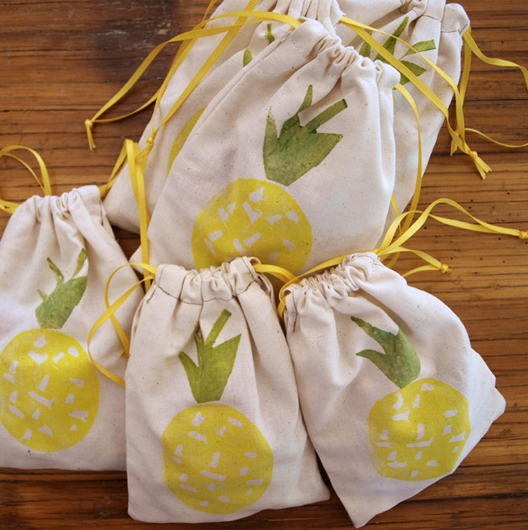 pine-apples-textile-yellow-cord-bag-candies-treats-bag